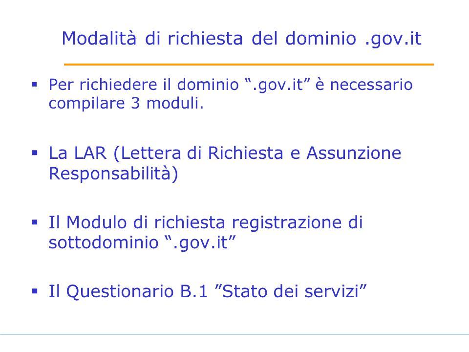 Modalità di richiesta del dominio .gov.it