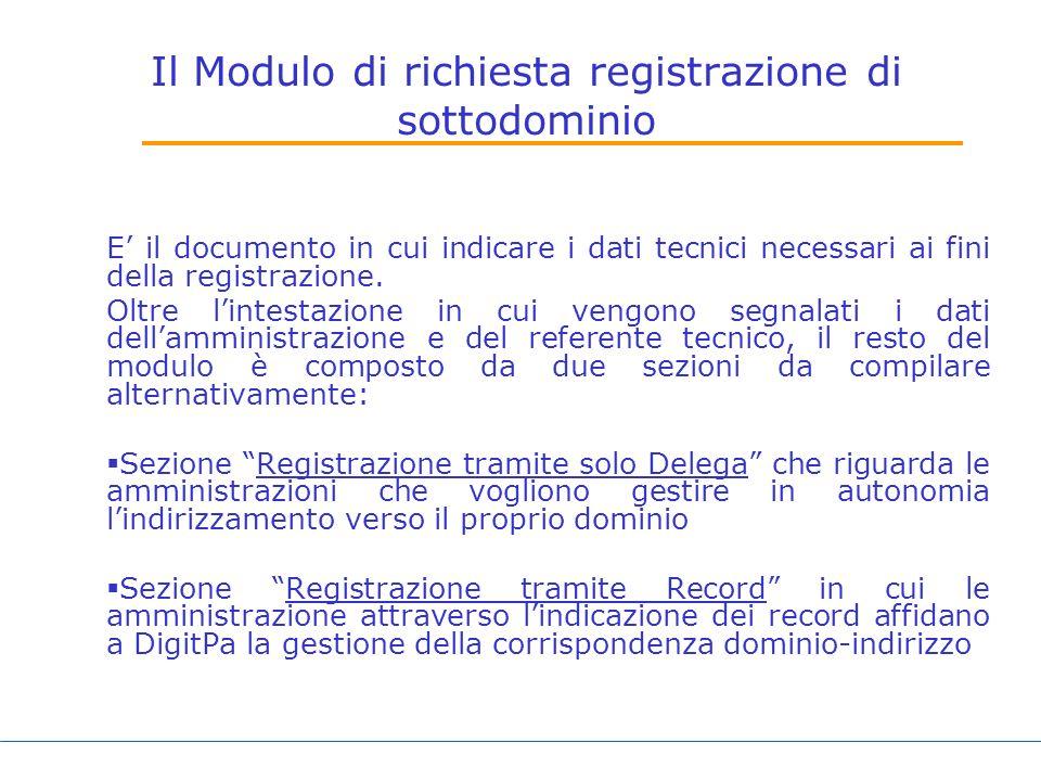 Il Modulo di richiesta registrazione di sottodominio