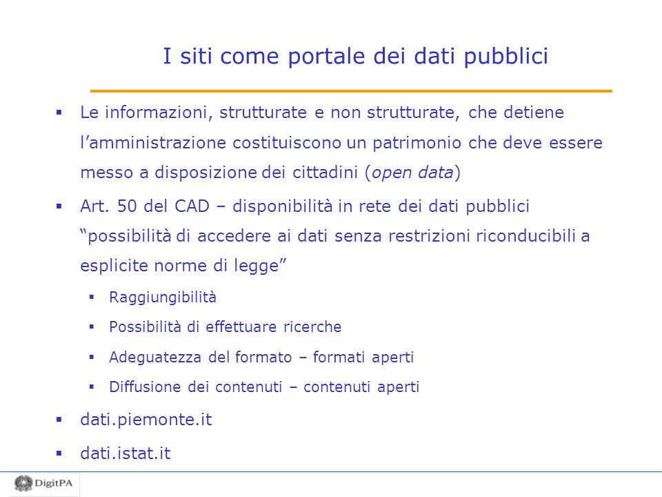 I siti come portale dei dati pubblici