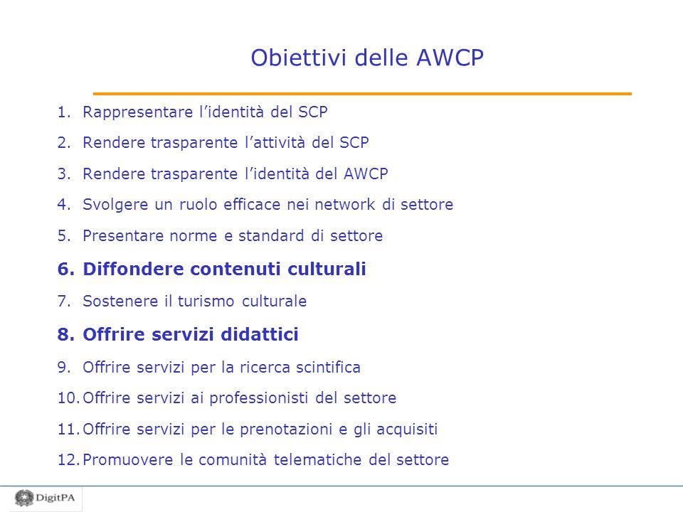 Obiettivi delle AWCP Diffondere contenuti culturali