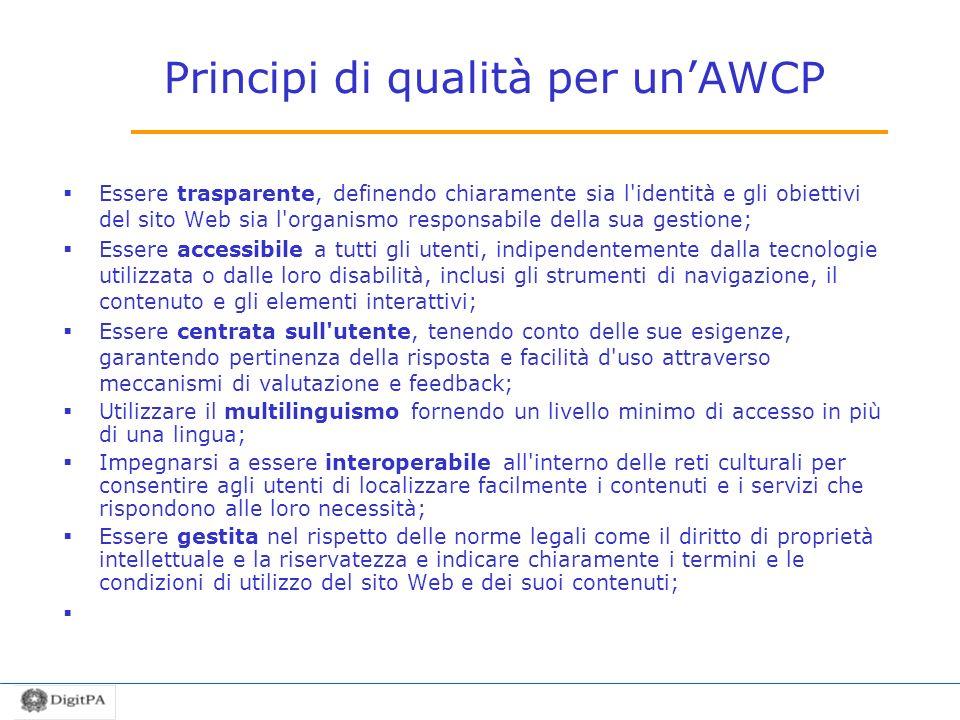Principi di qualità per un'AWCP