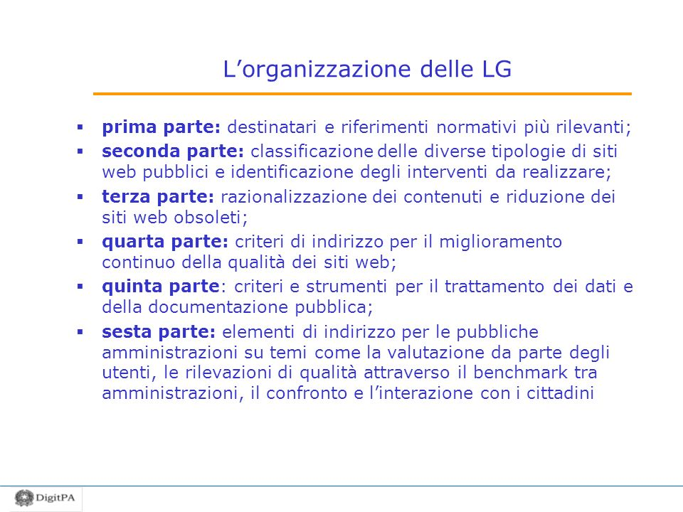 L'organizzazione delle LG