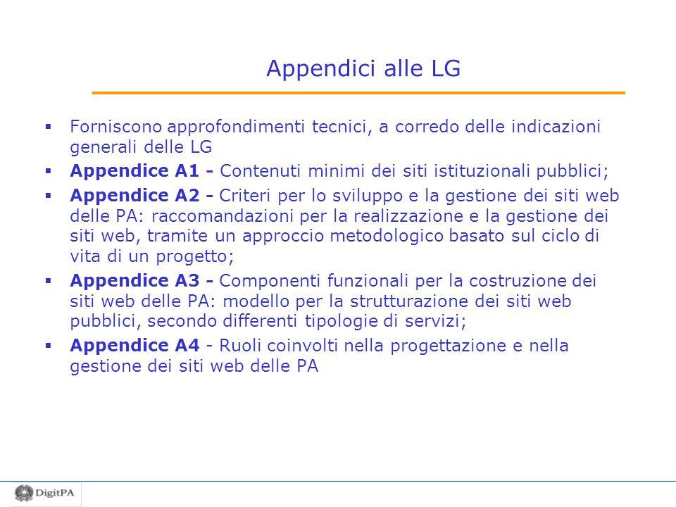 Appendici alle LG Forniscono approfondimenti tecnici, a corredo delle indicazioni generali delle LG.