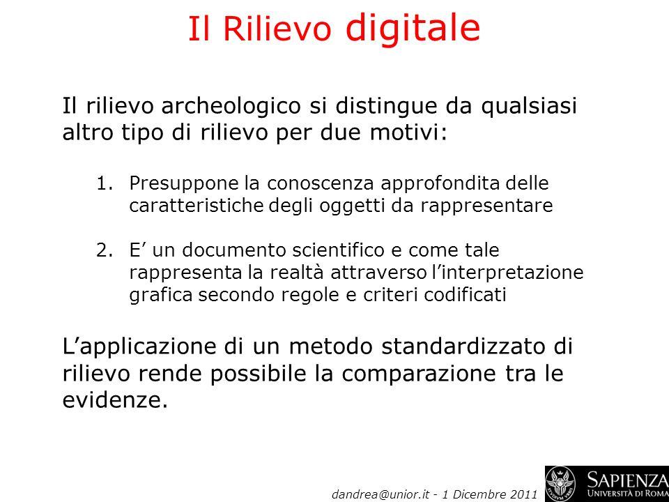 Il Rilievo digitale Il rilievo archeologico si distingue da qualsiasi altro tipo di rilievo per due motivi: