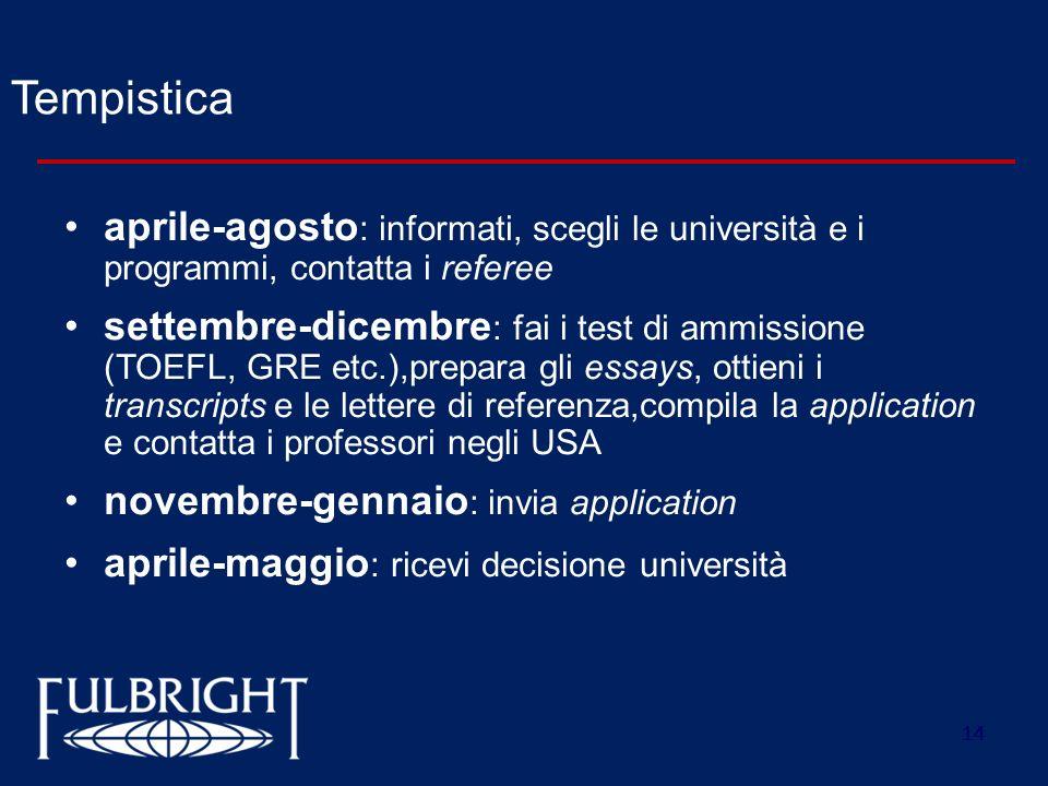 Tempisticaaprile-agosto: informati, scegli le università e i programmi, contatta i referee.
