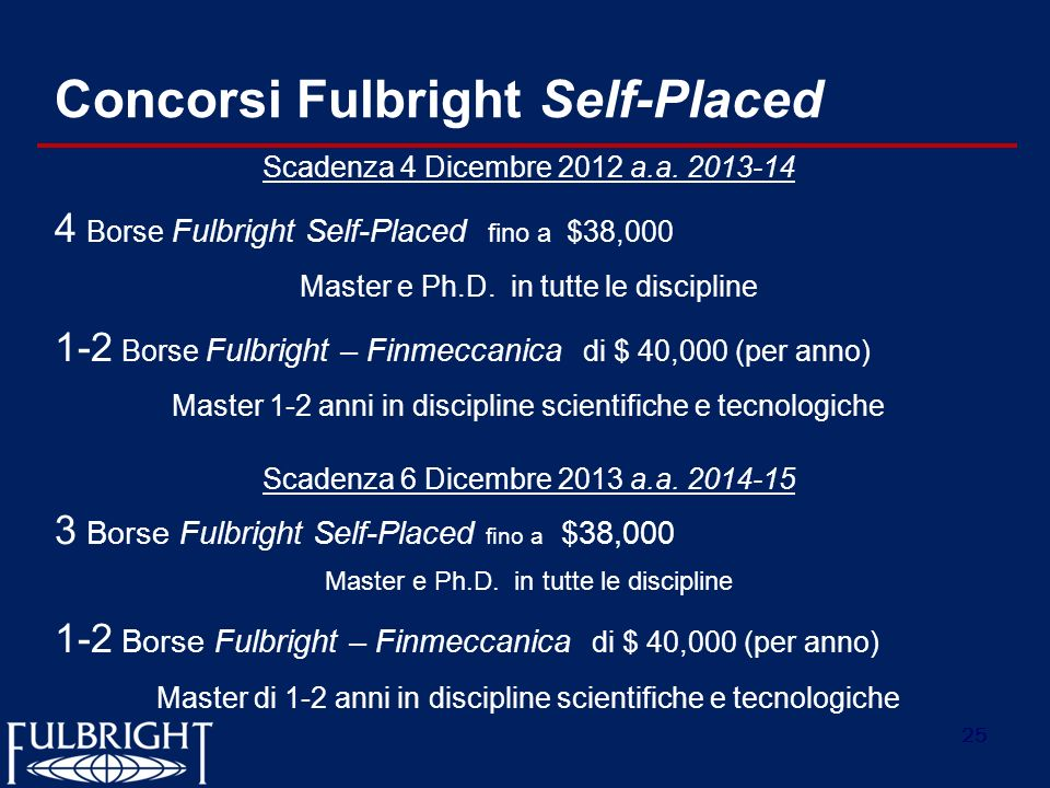 Concorsi Fulbright Self-Placed