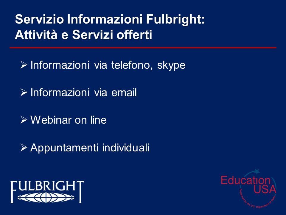 Servizio Informazioni Fulbright: Attività e Servizi offerti