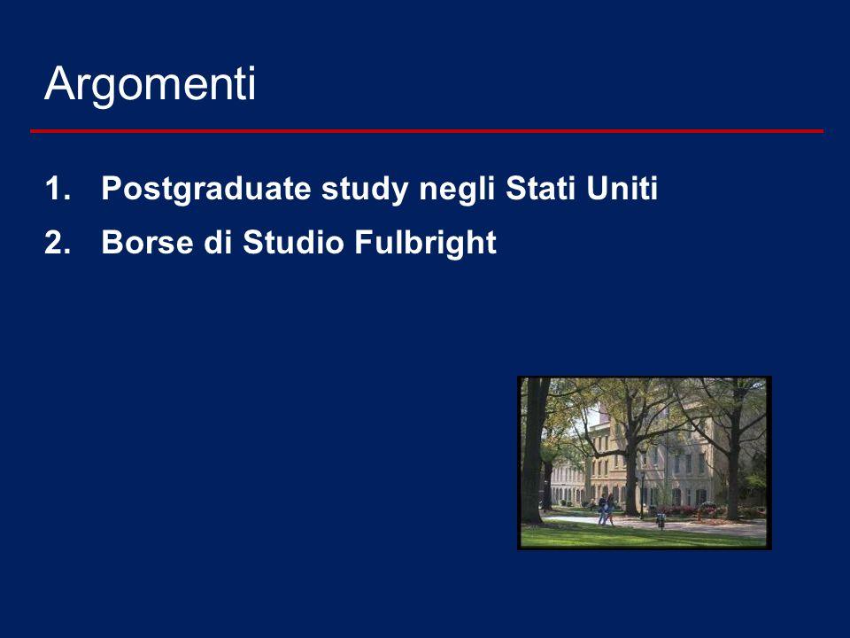 Argomenti Postgraduate study negli Stati Uniti