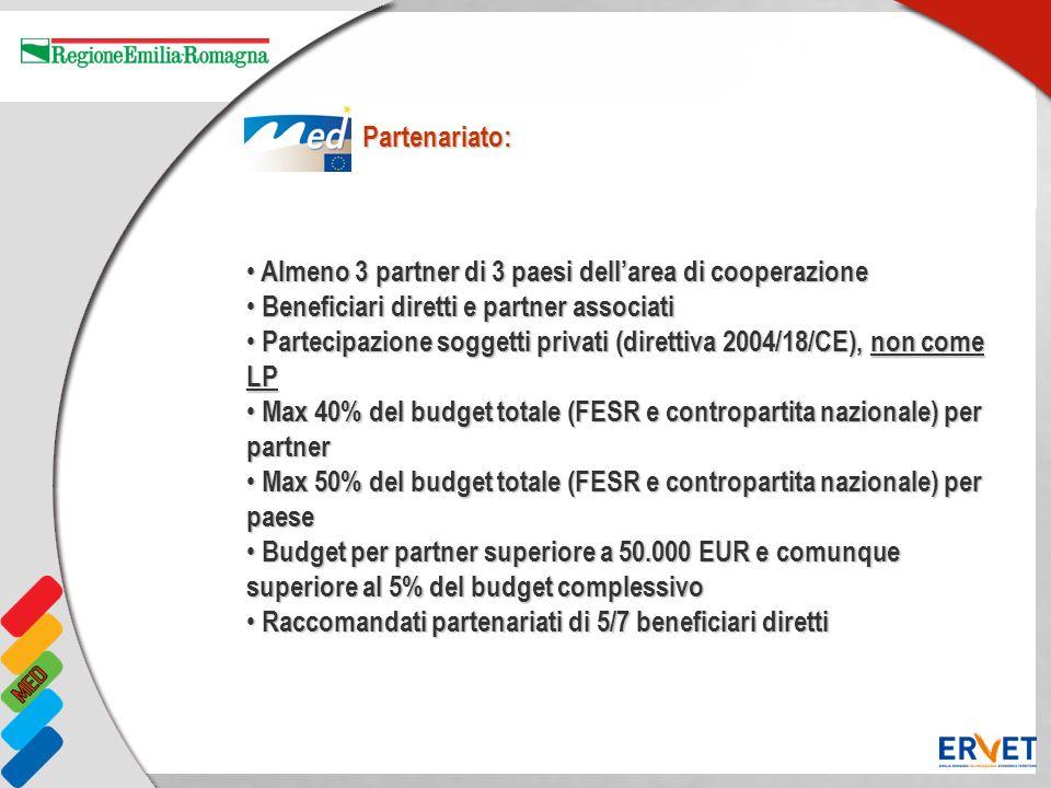 Almeno 3 partner di 3 paesi dell'area di cooperazione
