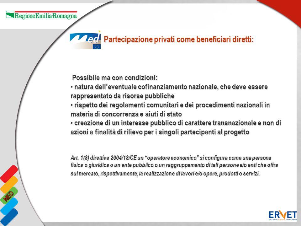 Partecipazione privati come beneficiari diretti: