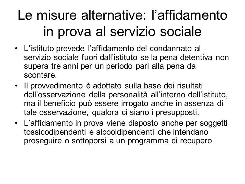 Le misure alternative: l'affidamento in prova al servizio sociale
