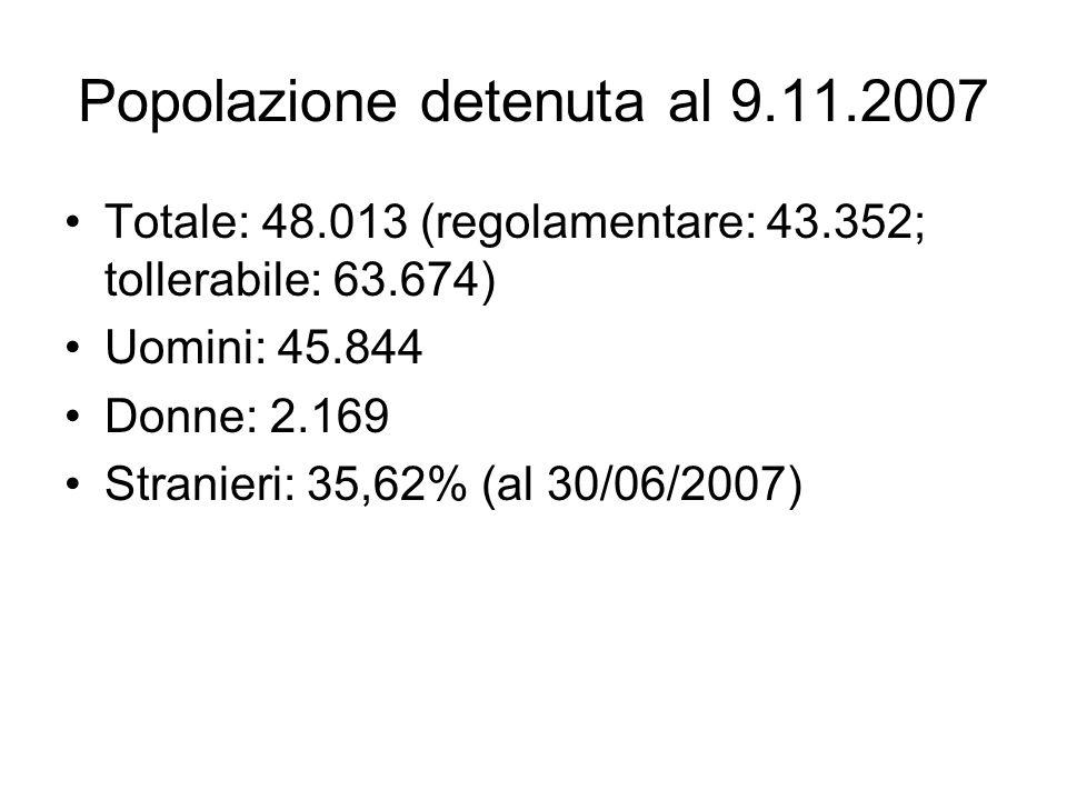 Popolazione detenuta al 9.11.2007