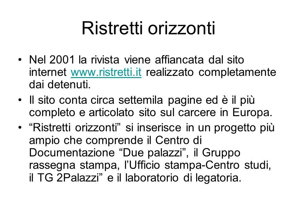 Ristretti orizzonti Nel 2001 la rivista viene affiancata dal sito internet www.ristretti.it realizzato completamente dai detenuti.