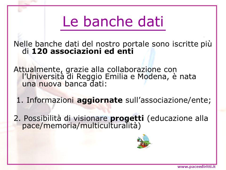Le banche dati Nelle banche dati del nostro portale sono iscritte più di 120 associazioni ed enti.