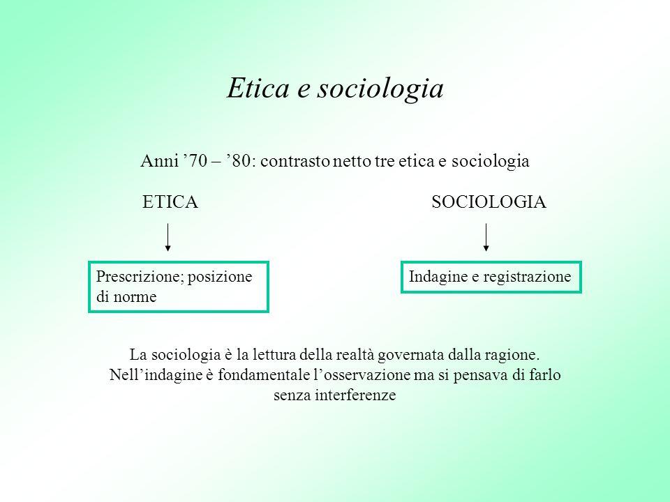 Anni '70 – '80: contrasto netto tre etica e sociologia