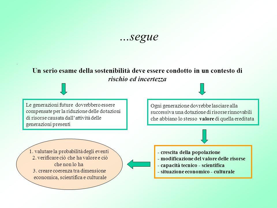 …segue . Un serio esame della sostenibilità deve essere condotto in un contesto di rischio ed incertezza.