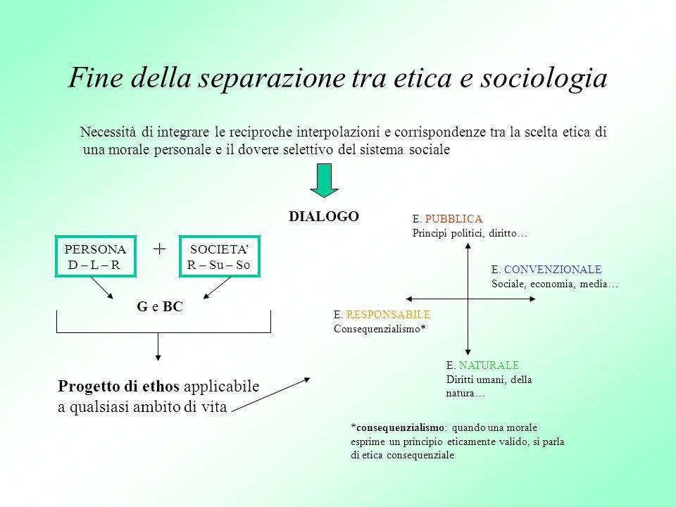 Fine della separazione tra etica e sociologia