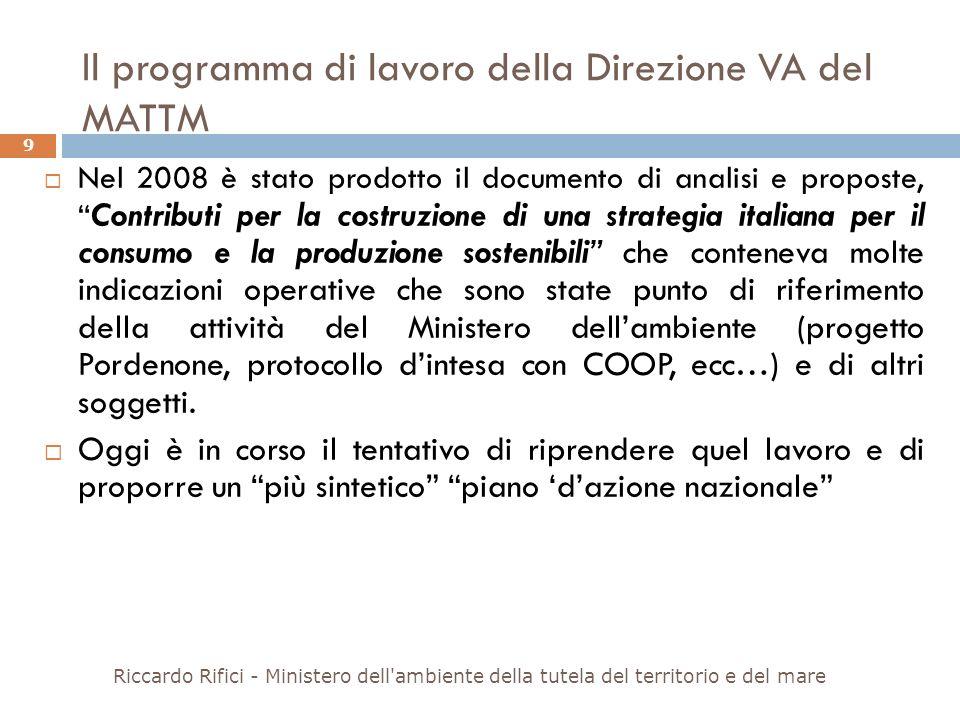 Il programma di lavoro della Direzione VA del MATTM