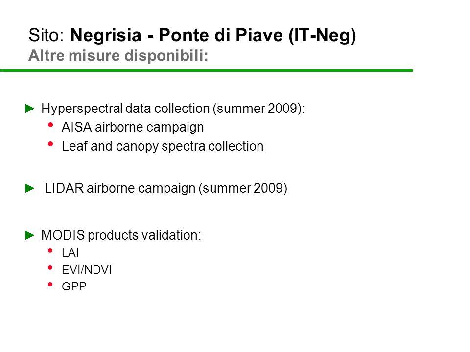 Sito: Negrisia - Ponte di Piave (IT-Neg) Altre misure disponibili: