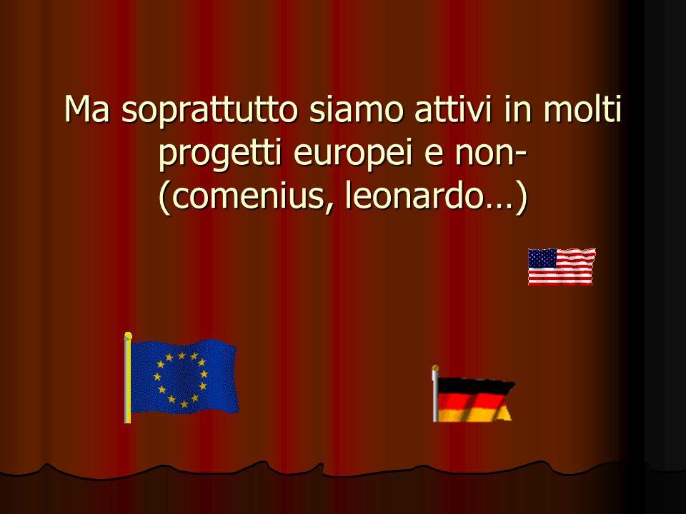 Ma soprattutto siamo attivi in molti progetti europei e non- (comenius, leonardo…)