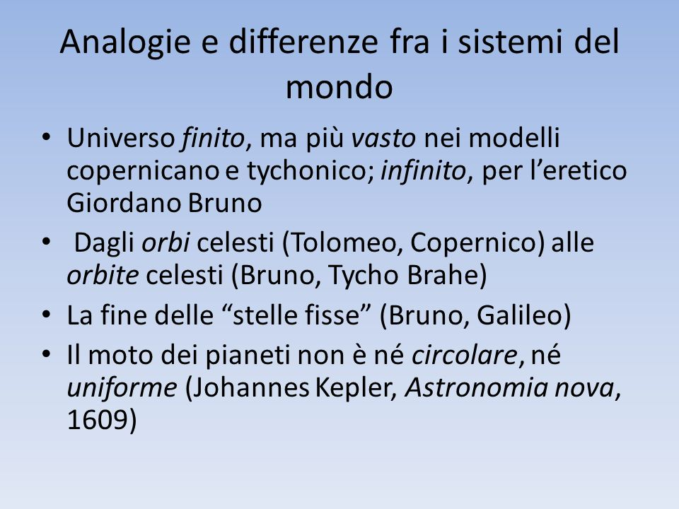 Analogie e differenze fra i sistemi del mondo