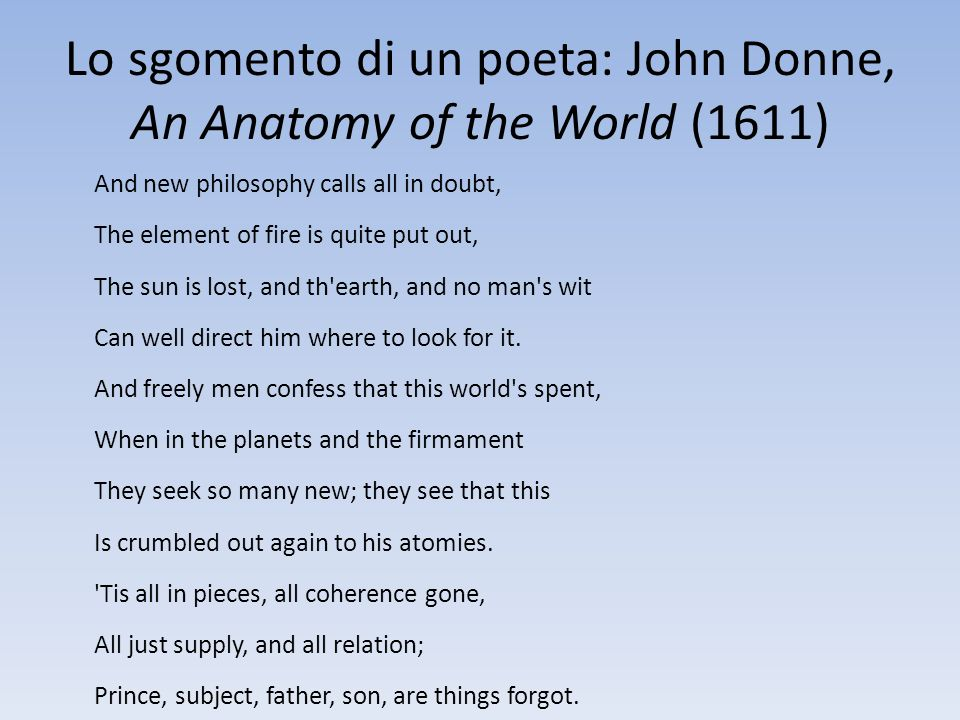 Lo sgomento di un poeta: John Donne, An Anatomy of the World (1611)