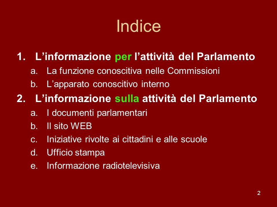 Indice L'informazione per l'attività del Parlamento