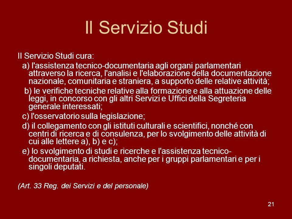 Il Servizio Studi Il Servizio Studi cura: