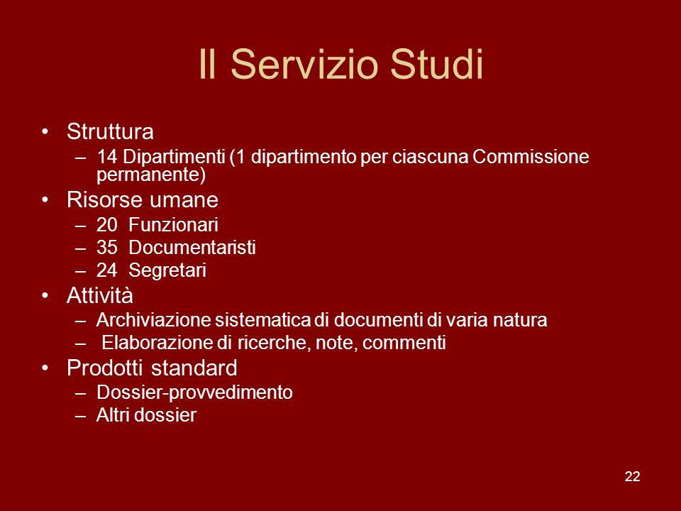 Il Servizio Studi Struttura Risorse umane Attività Prodotti standard