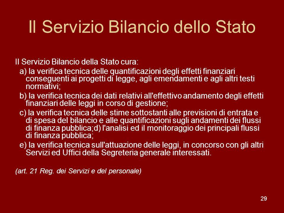Il Servizio Bilancio dello Stato