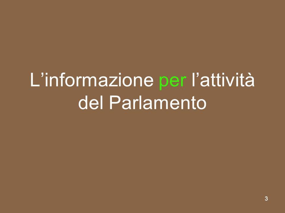 L'informazione per l'attività del Parlamento