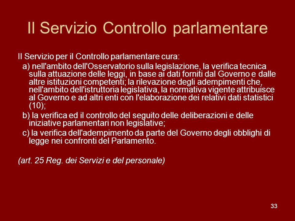 Il Servizio Controllo parlamentare