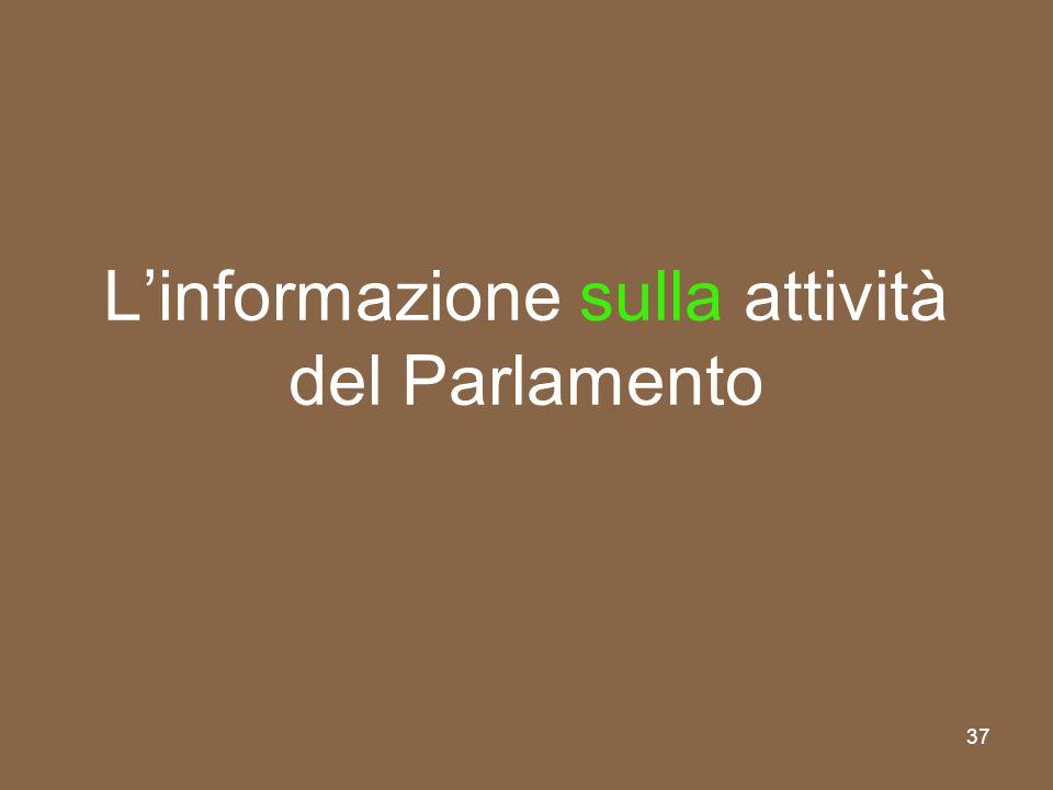 L'informazione sulla attività del Parlamento