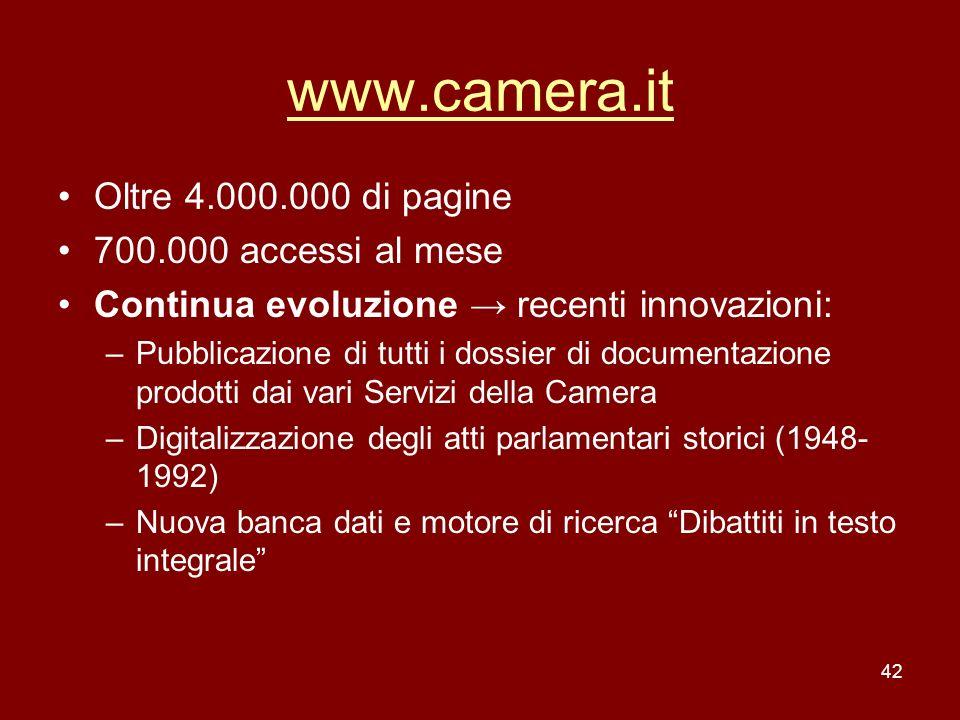 www.camera.it Oltre 4.000.000 di pagine 700.000 accessi al mese