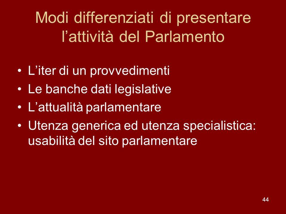 Modi differenziati di presentare l'attività del Parlamento