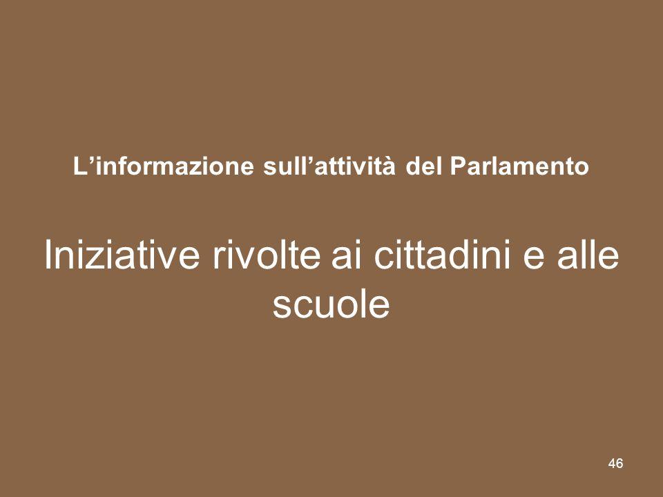 L'informazione sull'attività del Parlamento Iniziative rivolte ai cittadini e alle scuole