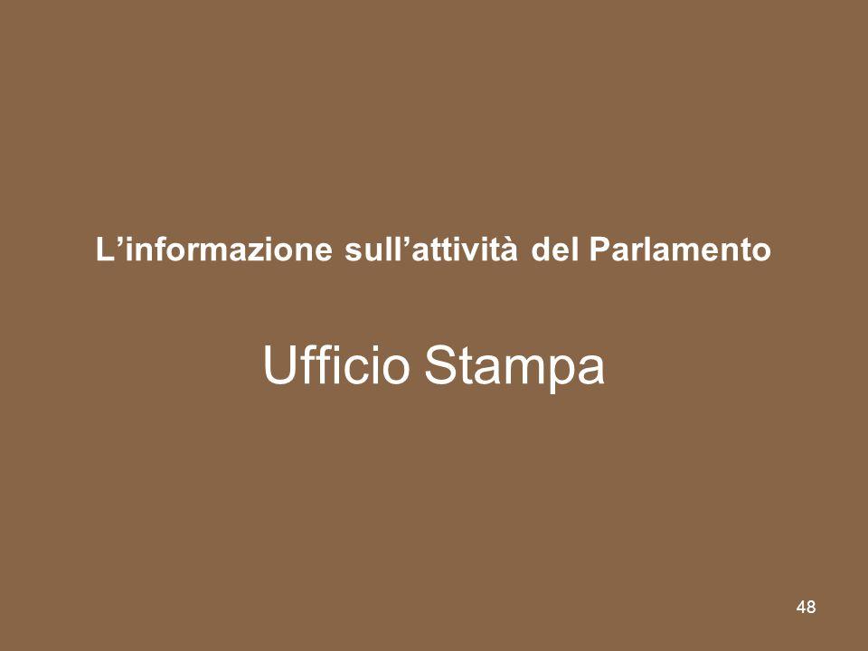 L'informazione sull'attività del Parlamento Ufficio Stampa
