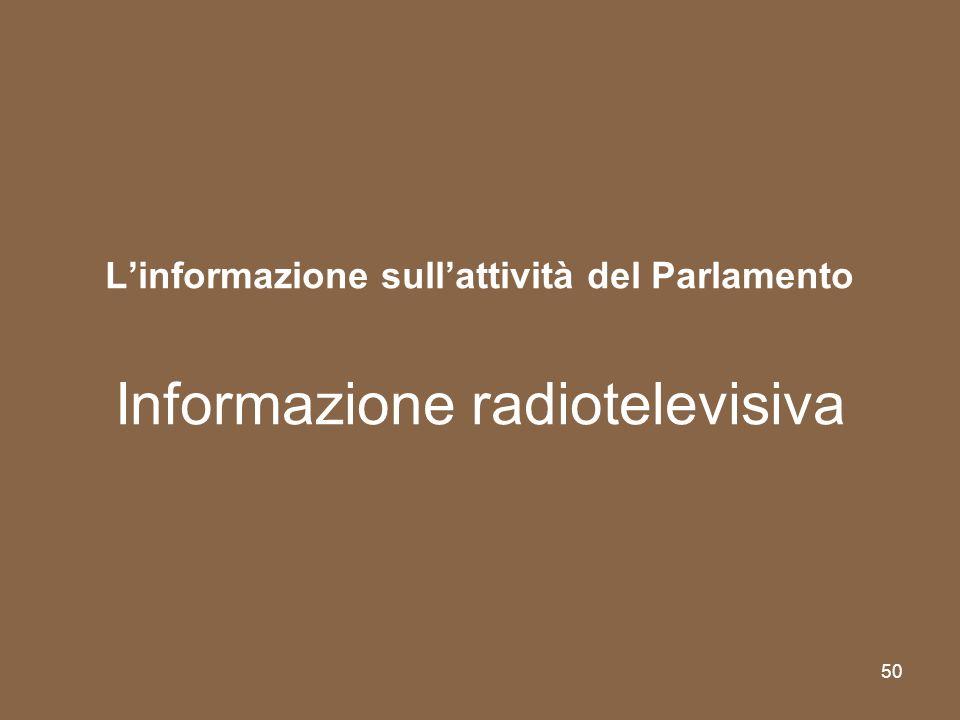 L'informazione sull'attività del Parlamento Informazione radiotelevisiva