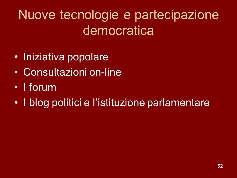 Nuove tecnologie e partecipazione democratica