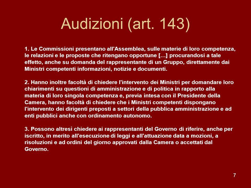 Audizioni (art. 143)