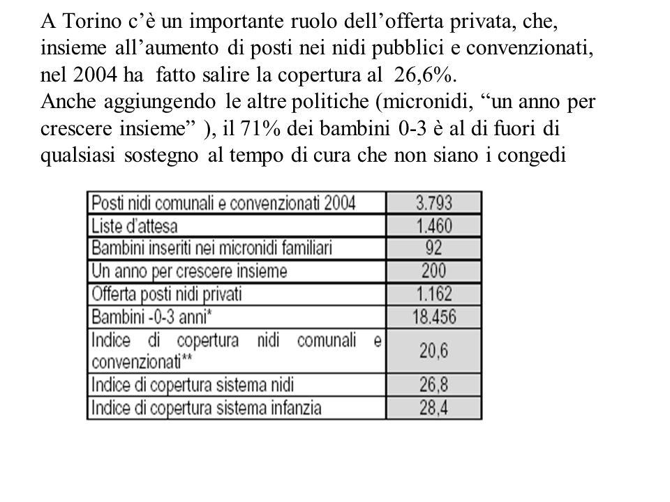 A Torino c'è un importante ruolo dell'offerta privata, che, insieme all'aumento di posti nei nidi pubblici e convenzionati, nel 2004 ha fatto salire la copertura al 26,6%.