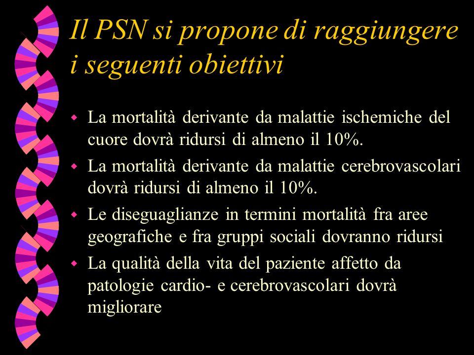 Il PSN si propone di raggiungere i seguenti obiettivi