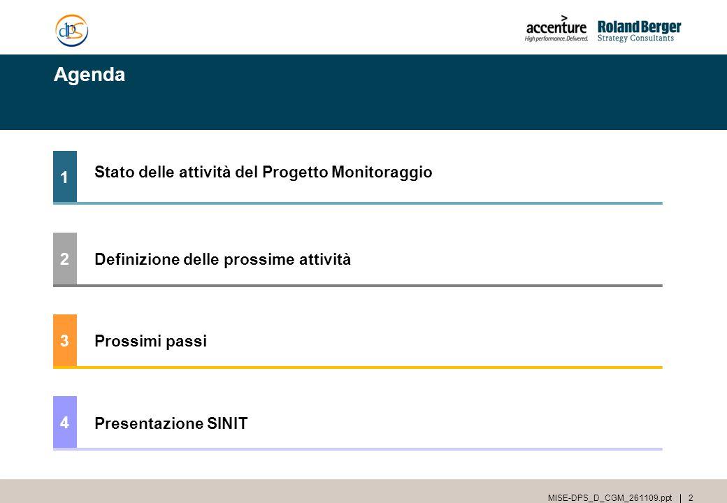 Agenda 1 Stato delle attività del Progetto Monitoraggio 2