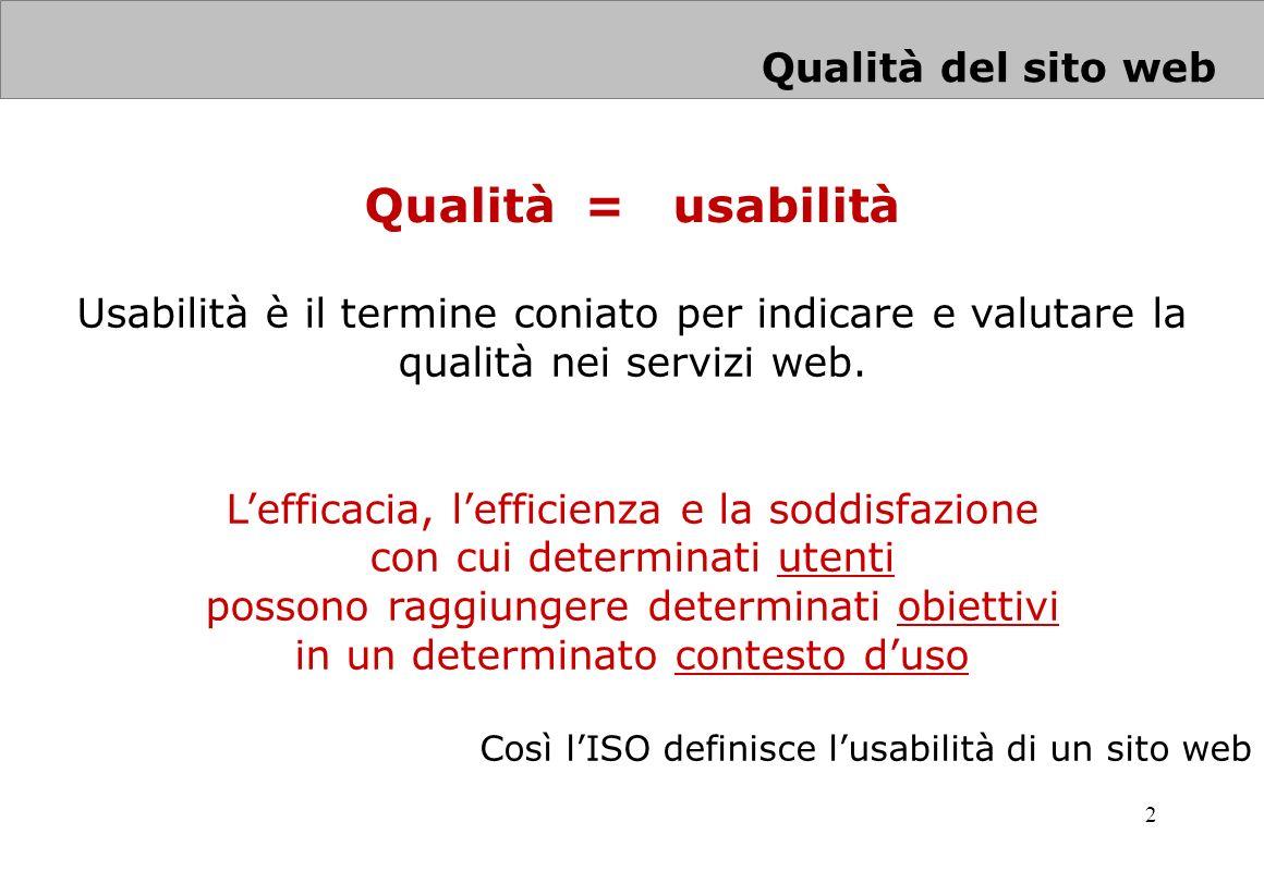 Qualità = usabilità Qualità del sito web