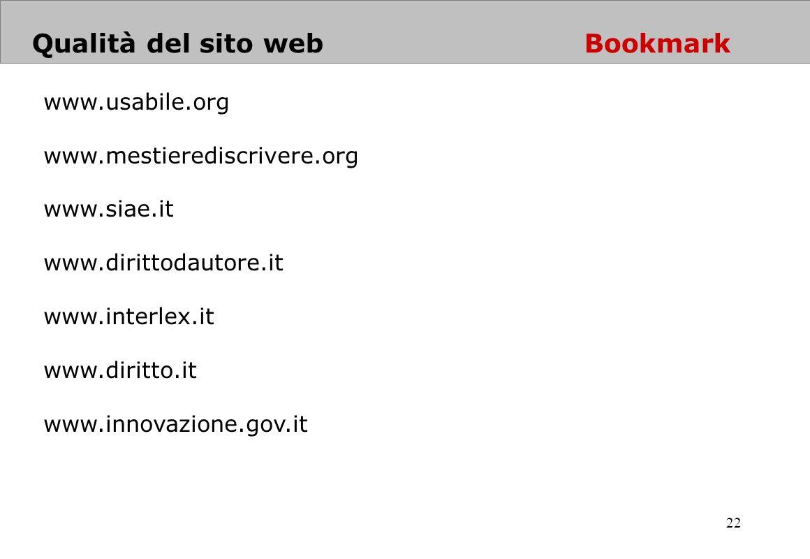 Qualità del sito web Bookmark