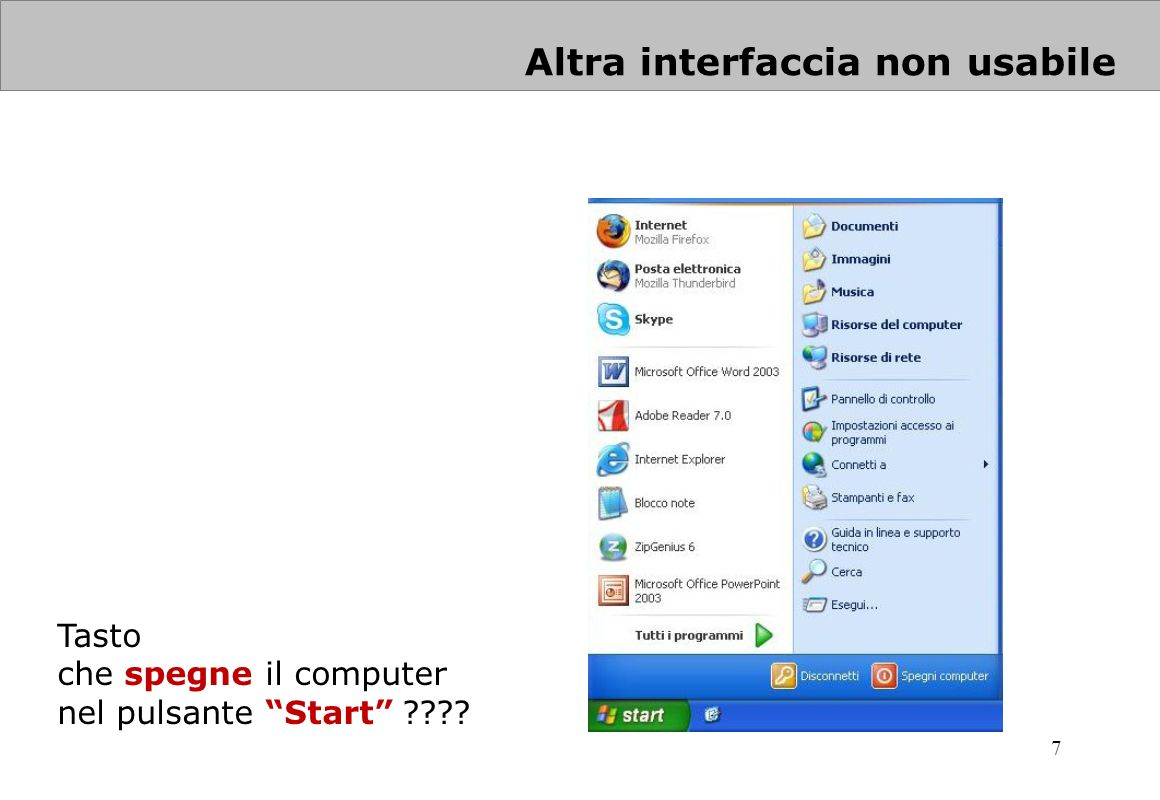 Altra interfaccia non usabile