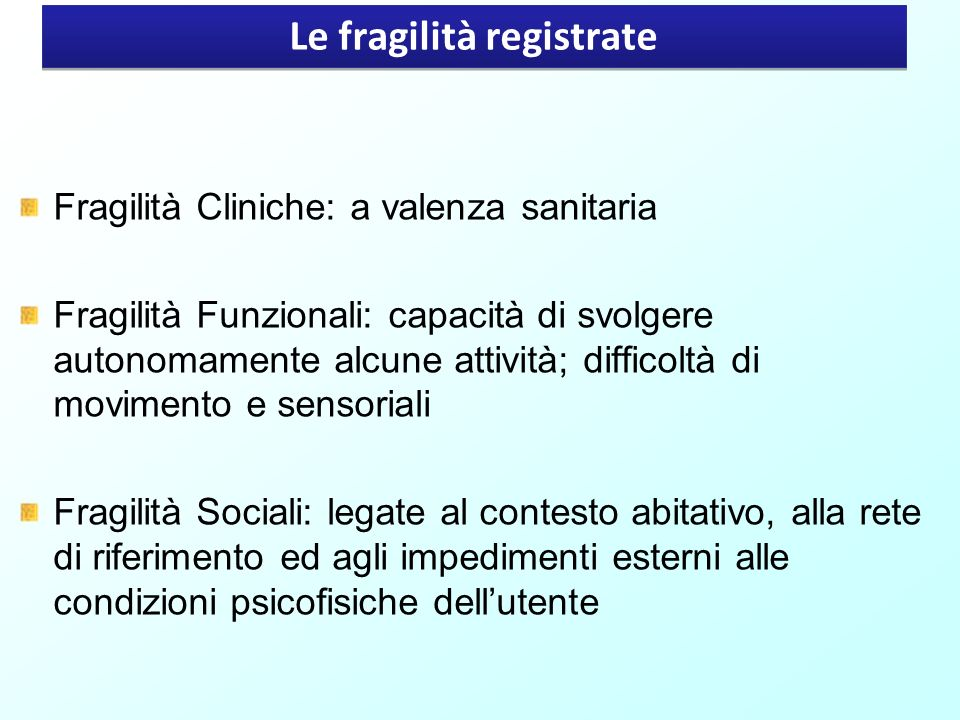 Le fragilità registrate