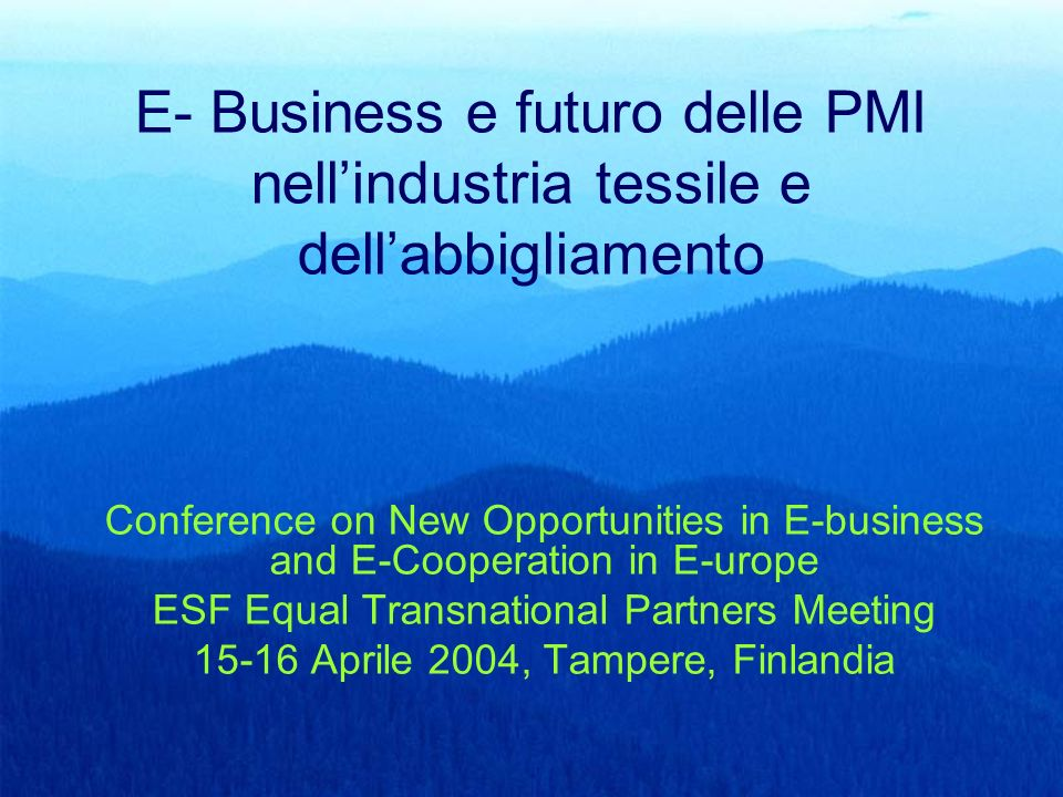 E- Business e futuro delle PMI nell'industria tessile e dell'abbigliamento