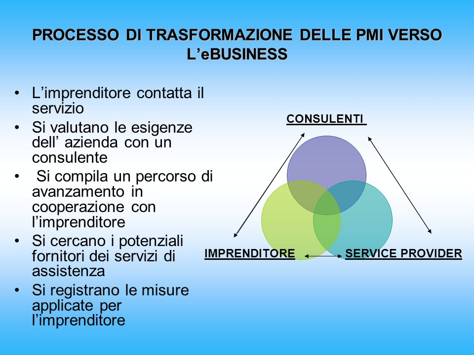 PROCESSO DI TRASFORMAZIONE DELLE PMI VERSO L'eBUSINESS