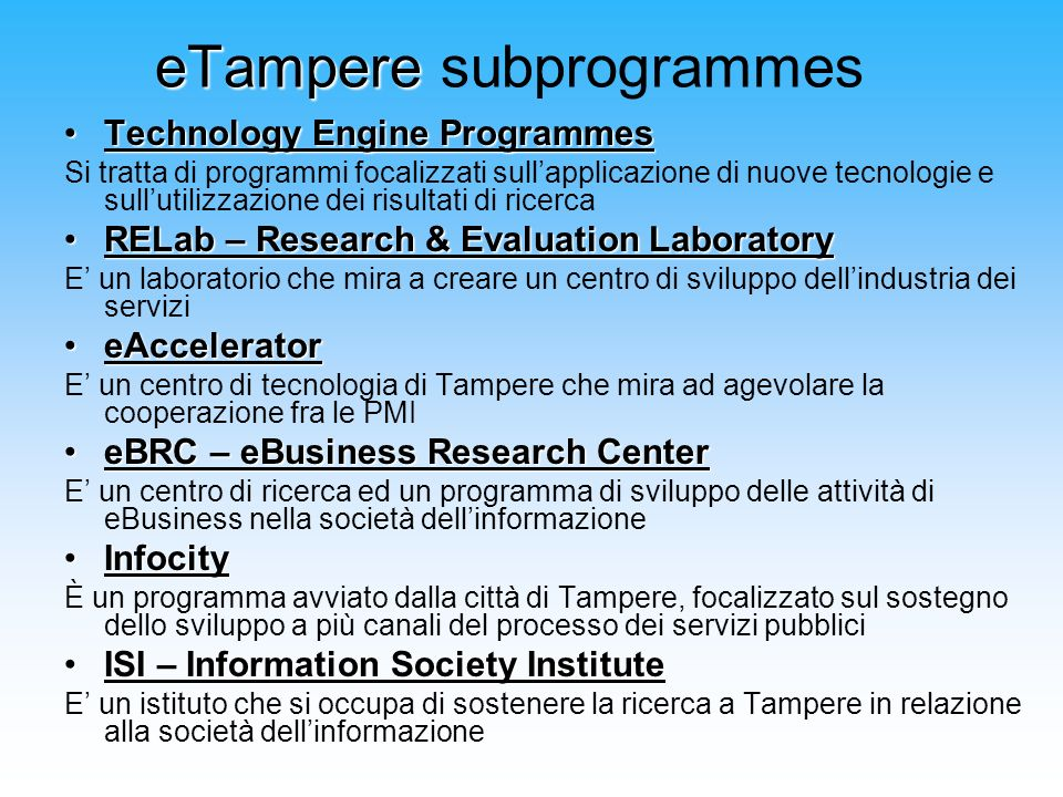 eTampere subprogrammes